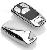 TBU car TBU car Autoschlüssel Hülle kompatibel mit Audi 3 Tasten (Keyless Entry) - Schutzhülle aus TPU - Auto Schlüsselhülle Cover in Silber Chrom