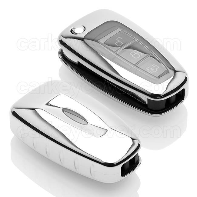 TBU car TBU car Autoschlüssel Hülle kompatibel mit Ford 3 Tasten - Schutzhülle aus TPU - Auto Schlüsselhülle Cover in Silber Chrom