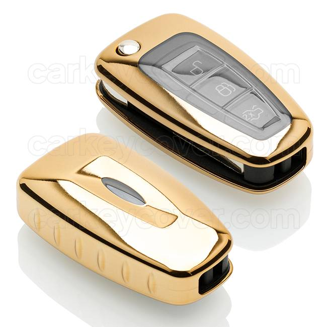 Ford Car key cover - TPU Protective Remote Key Shell FOB Case Cover - Gold