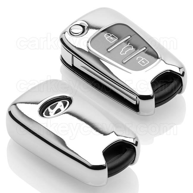 Hyundai Capa TPU Chave do carro - Capa protetora - Tampa remota FOB - Cromada