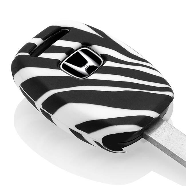 TBU car TBU car Sleutel cover compatibel met Honda - Silicone sleutelhoesje - beschermhoesje autosleutel - Zebra
