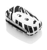 TBU car TBU car Autoschlüssel Hülle kompatibel mit Fiat 3 Tasten - Schutzhülle aus Silikon - Auto Schlüsselhülle Cover in Zebra
