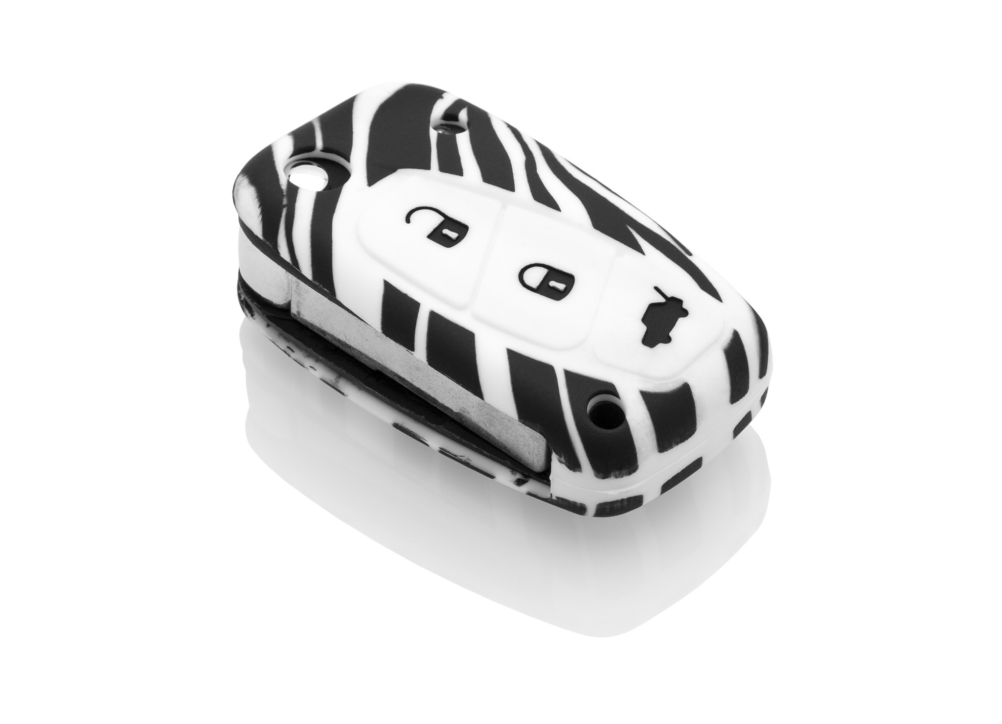 Fiat Car key cover - Silicone Protective Remote Key Shell - FOB Case Cover - Zebra