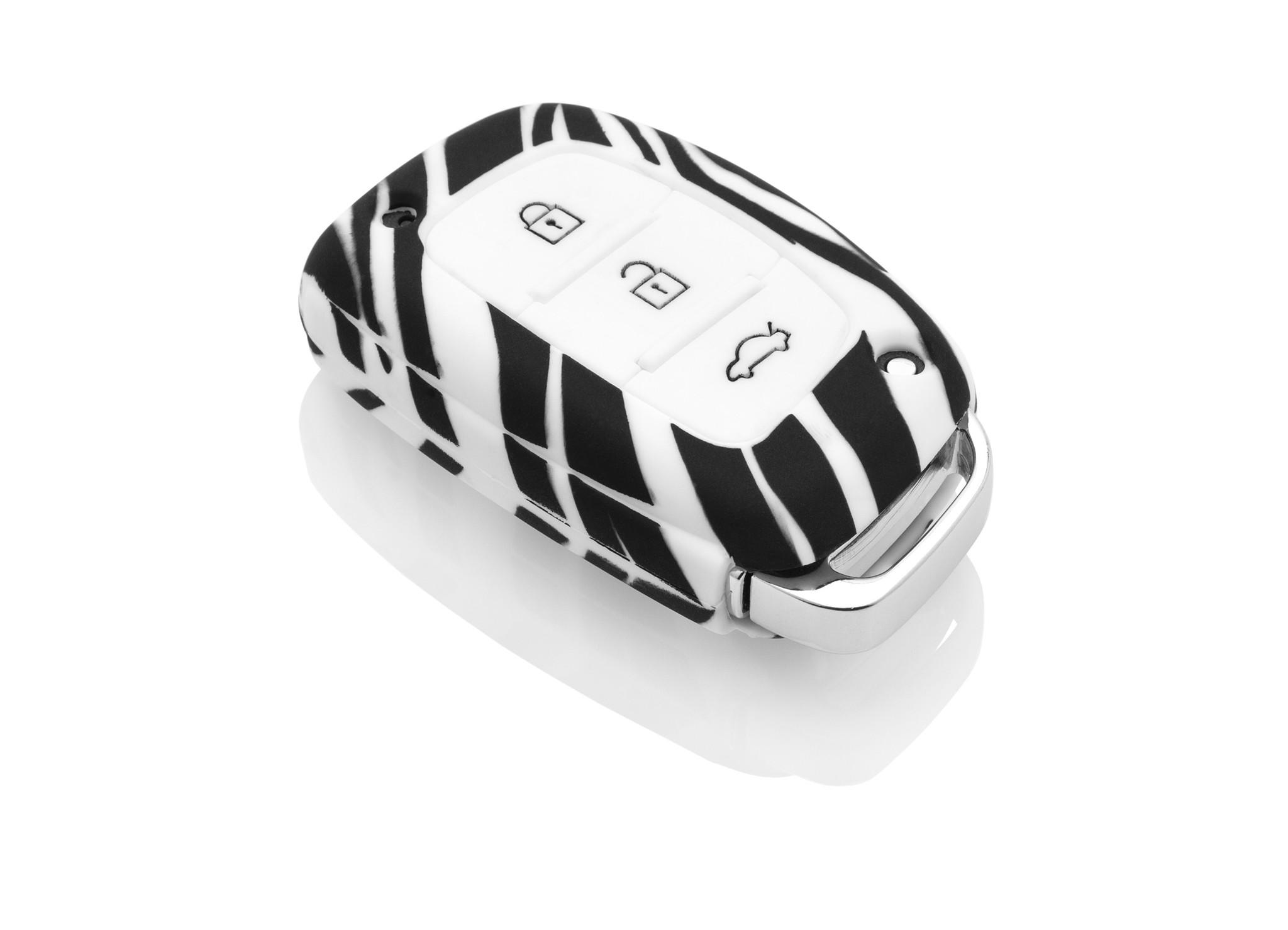 TBU car TBU car Sleutel cover compatibel met Hyundai - Silicone sleutelhoesje - beschermhoesje autosleutel - Zebra