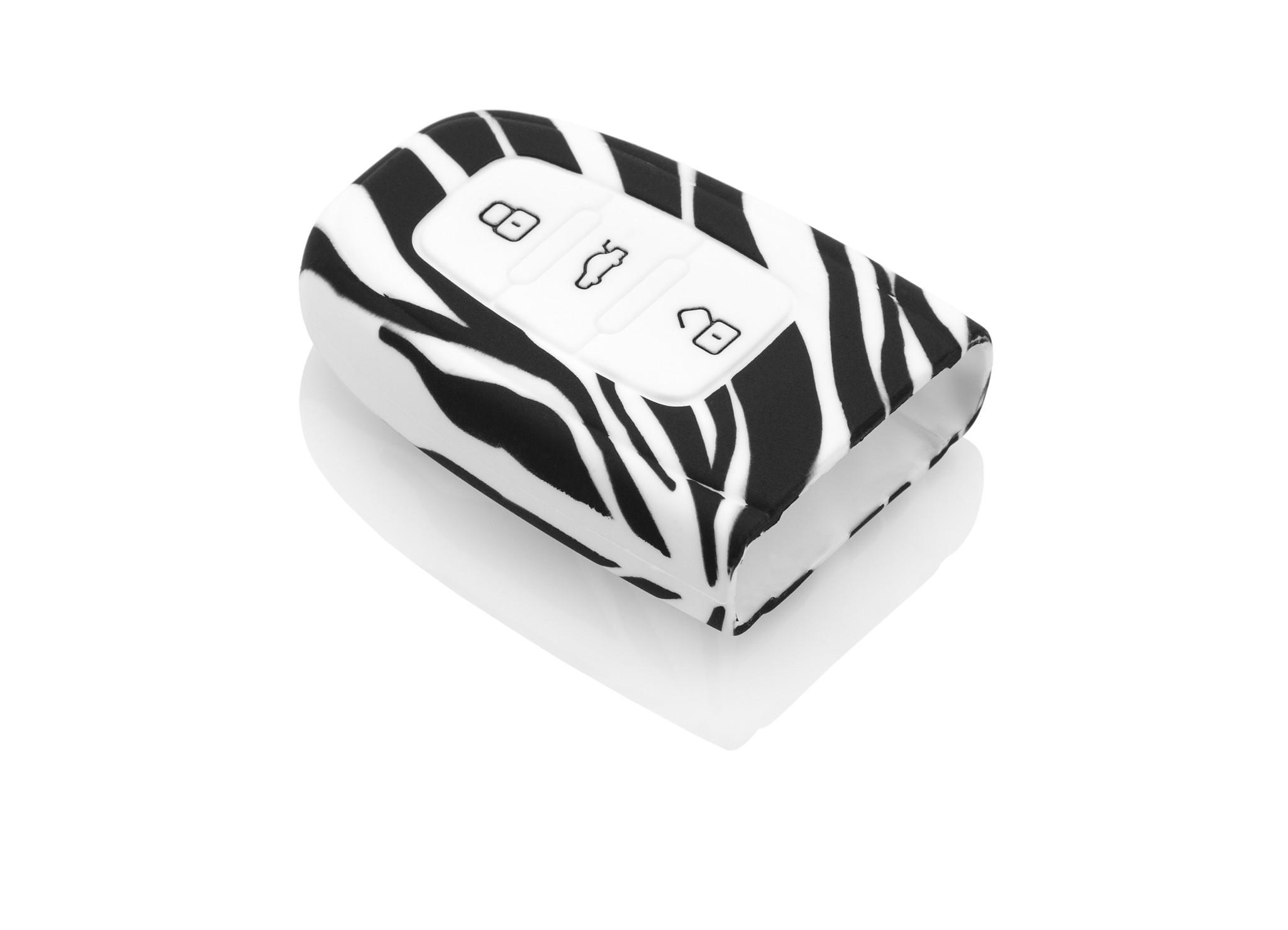 TBU car Autoschlüssel Hülle für Audi 3 Tasten (Keyless Entry) - Schutzhülle aus Silikon - Auto Schlüsselhülle Cover in Zebra