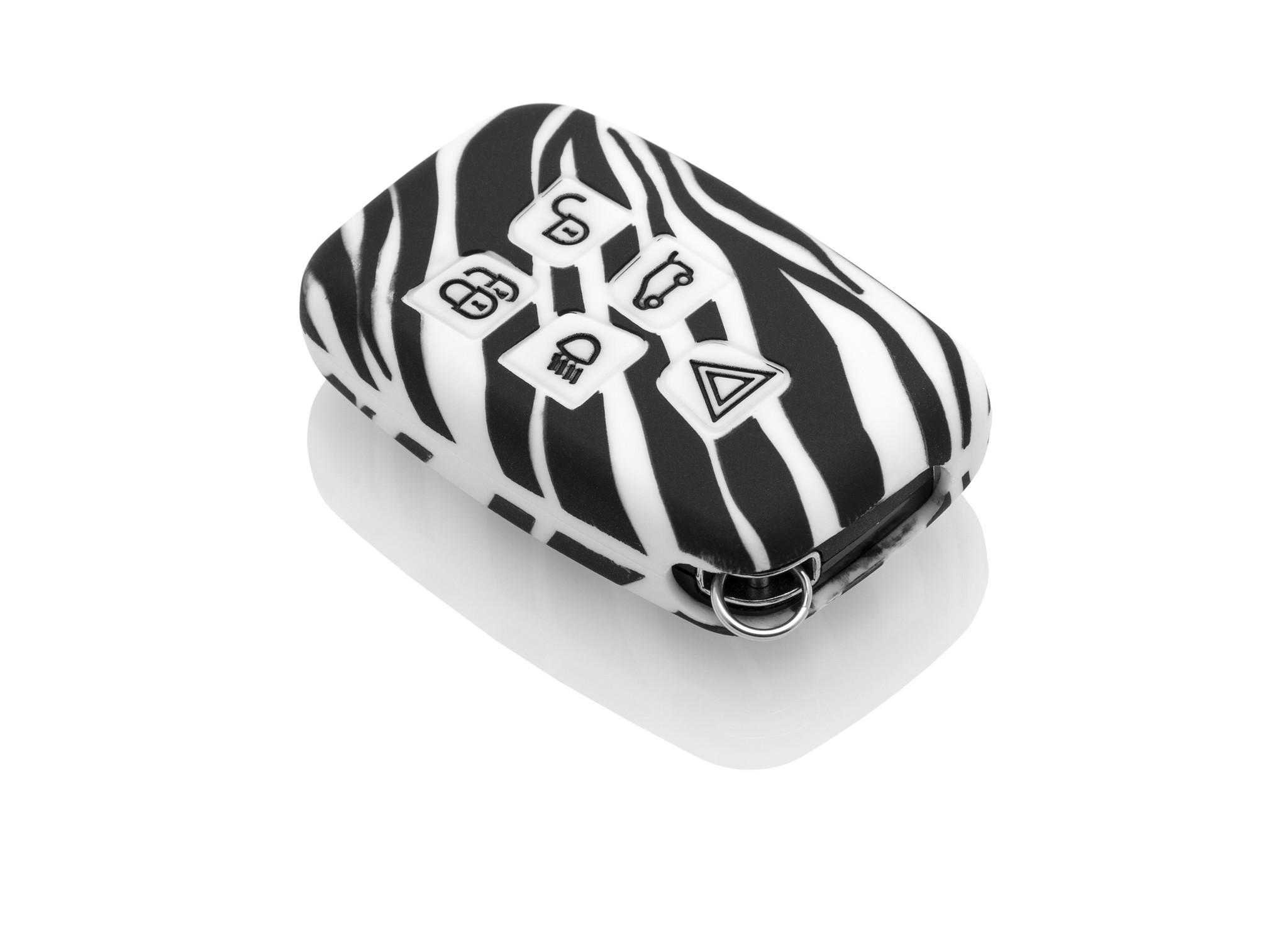 TBU car TBU car Sleutel cover compatibel met Range Rover - Silicone sleutelhoesje - beschermhoesje autosleutel - Zebra