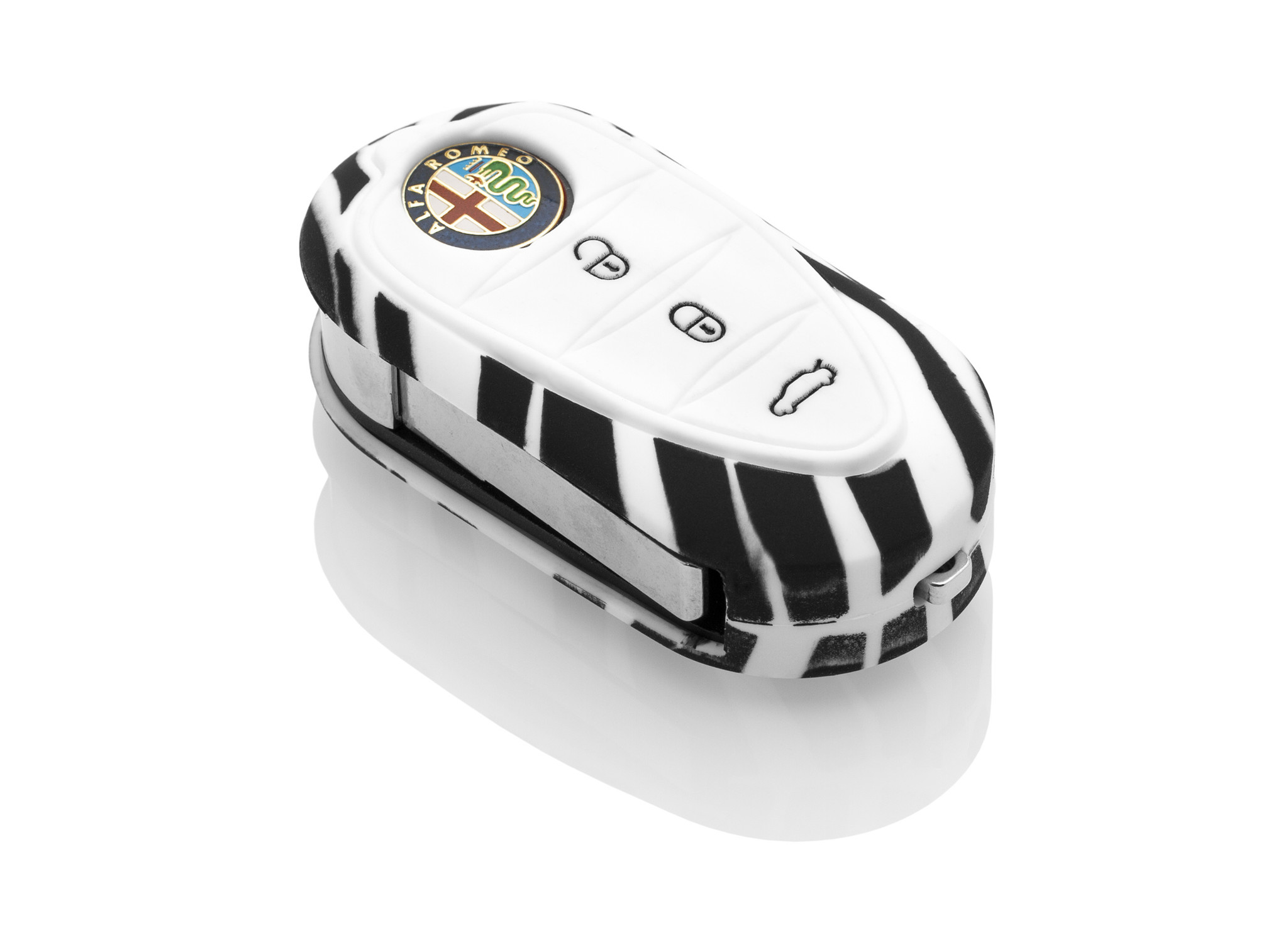 TBU car TBU car Autoschlüssel Hülle kompatibel mit Alfa Romeo 3 Tasten - Schutzhülle aus Silikon - Auto Schlüsselhülle Cover in Zebra