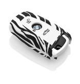 TBU car TBU car Autoschlüssel Hülle kompatibel mit BMW 3 Tasten (Keyless Entry) - Schutzhülle aus Silikon - Auto Schlüsselhülle Cover in Zebra