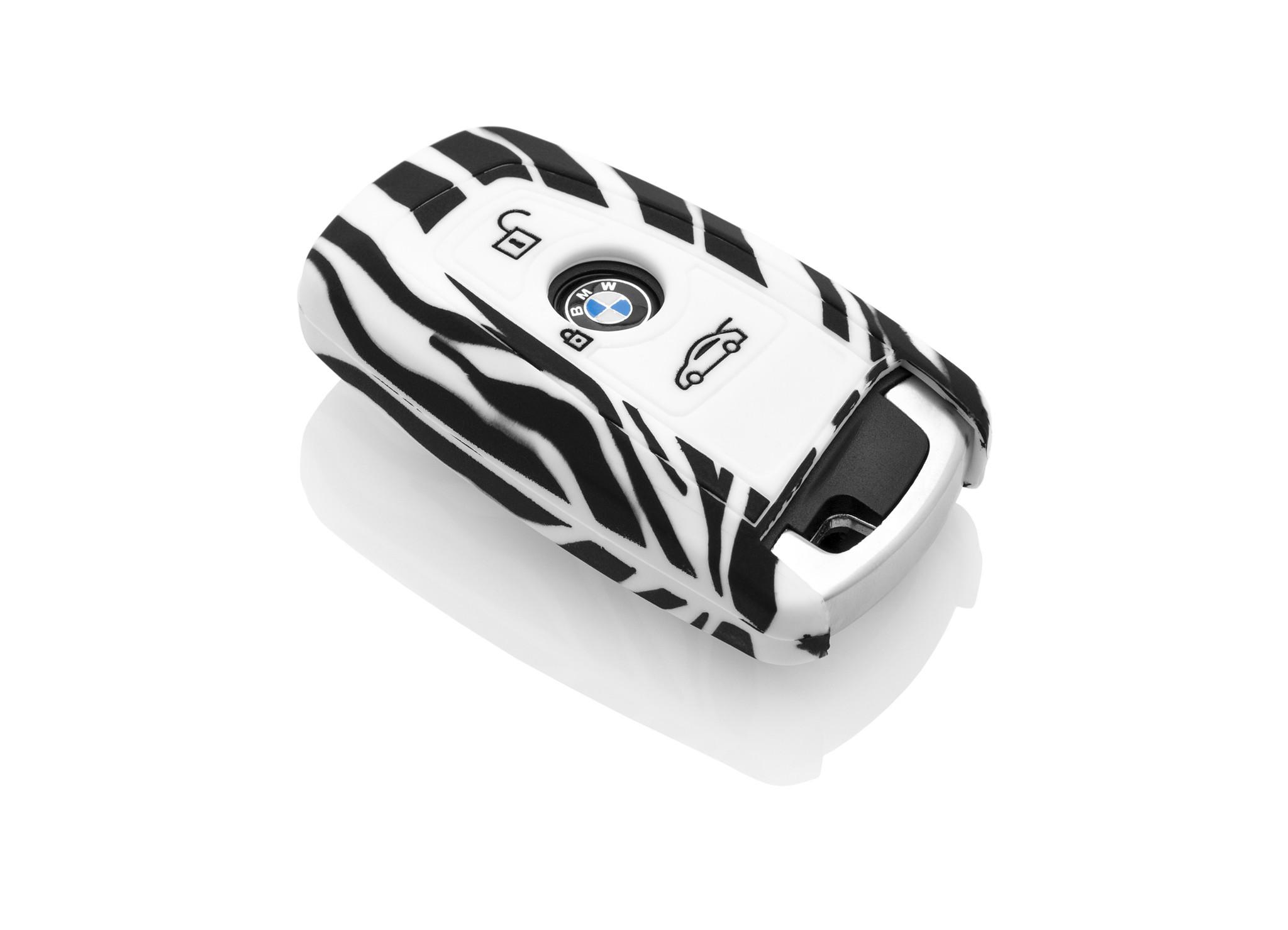 BMW Capa Silicone Chave do carro - Capa protetora - Tampa remota FOB - Zebra