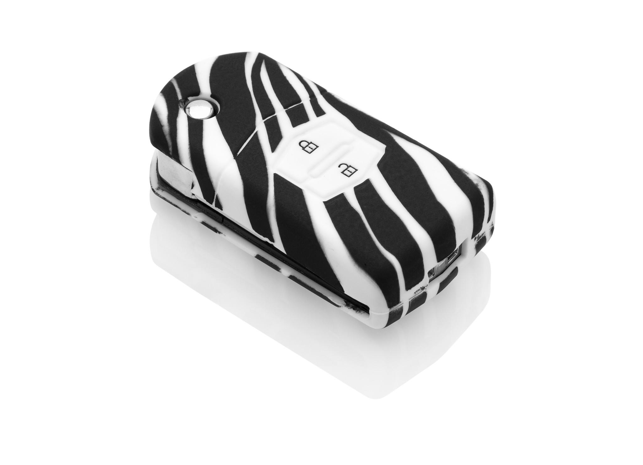 TBU car TBU car Sleutel cover compatibel met Mazda - Silicone sleutelhoesje - beschermhoesje autosleutel - Zebra