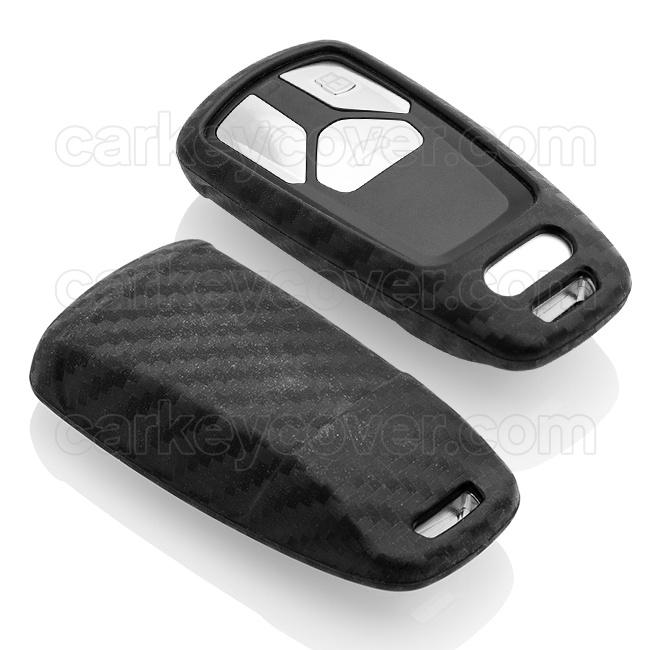 Audi Autoschlüssel Hülle - Silikon Schutzhülle - Schlüsselhülle Cover - Carbon