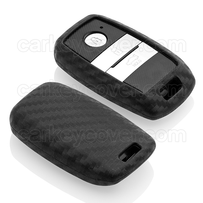 Kia Car key cover - Silicone Protective Remote Key Shell - FOB Case Cover - Carbon