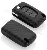 Citroën Car key cover - Silicone Protective Remote Key Shell - FOB Case Cover - Carbon
