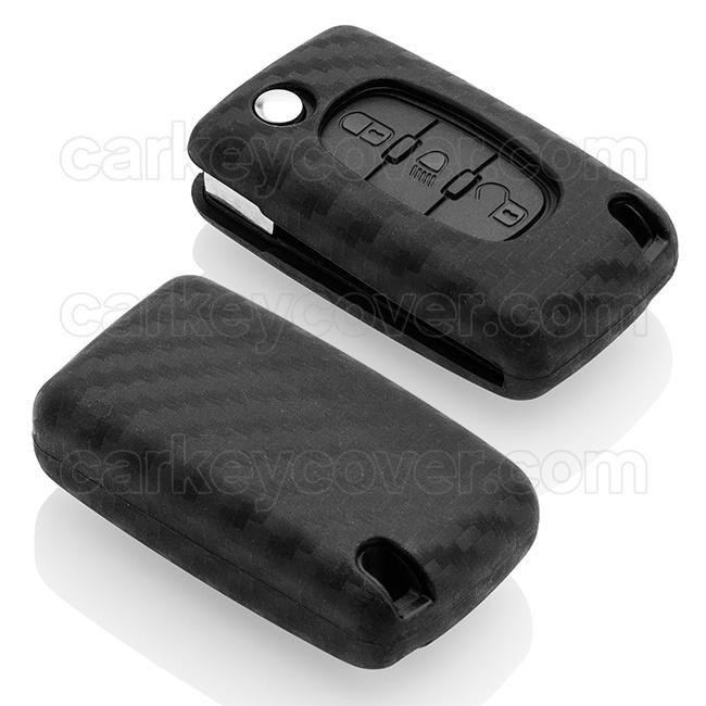 Citroën Autoschlüssel Hülle - Silikon Schutzhülle - Schlüsselhülle Cover - Carbon
