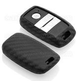 TBU car TBU car Autoschlüssel Hülle kompatibel mit Hyundai 3 Tasten (Keyless Entry) - Schutzhülle aus Silikon - Auto Schlüsselhülle Cover in Carbon