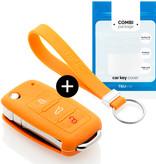 TBU car Autoschlüssel Hülle für Volkswagen 3 Tasten - Schutzhülle aus Silikon - Auto Schlüsselhülle Cover in Orange