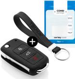 Volkswagen Autoschlüssel Hülle - Silikon Schutzhülle - Schlüsselhülle Cover - Schwarz