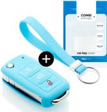 TBU·CAR Audi Car key cover - Silicone Protective Remote Key Shell - FOB Case Cover - Light Blue