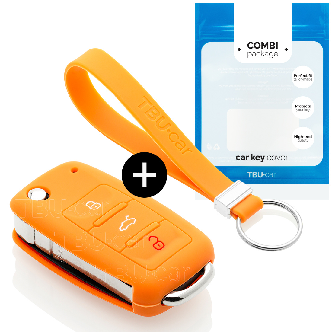 Audi Car key cover - Silicone Protective Remote Key Shell - FOB Case Cover - Orange