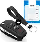 TBU car TBU car Autoschlüssel Hülle kompatibel mit Audi 3 Tasten - Schutzhülle aus Silikon - Auto Schlüsselhülle Cover in Schwarz