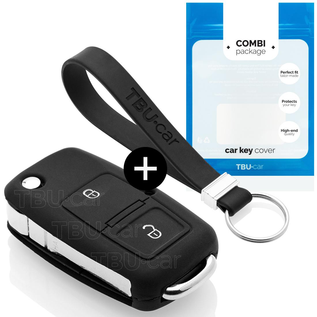 TBU car TBU car Autoschlüssel Hülle kompatibel mit Audi 2 Tasten - Schutzhülle aus Silikon - Auto Schlüsselhülle Cover in Schwarz