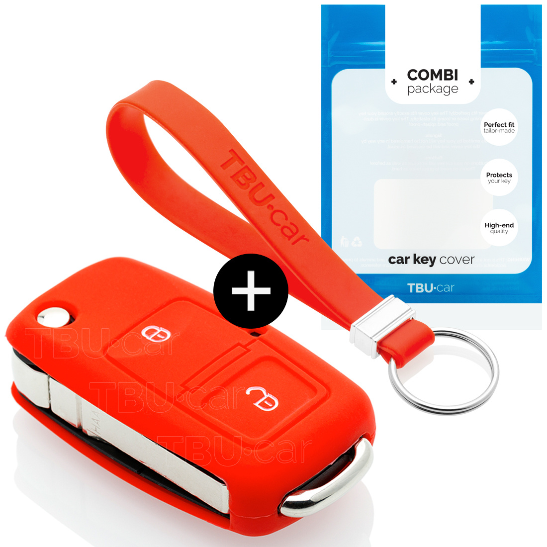 Audi Car key cover - Silicone Protective Remote Key Shell - FOB Case Cover - Red