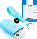 Audi Car key cover - Silicone Protective Remote Key Shell - FOB Case Cover - Light blue