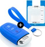 TBU car Autoschlüssel Hülle für Audi 3 Tasten (Keyless Entry) - Schutzhülle aus Silikon - Auto Schlüsselhülle Cover in Blau