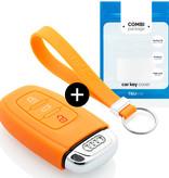 TBU car TBU car Funda Carcasa llave compatible con Audi - Funda de Silicona - Cover de Llave Coche - Naranja