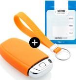 TBU car Autoschlüssel Hülle für Audi 3 Tasten (Keyless Entry) - Schutzhülle aus Silikon - Auto Schlüsselhülle Cover in Orange