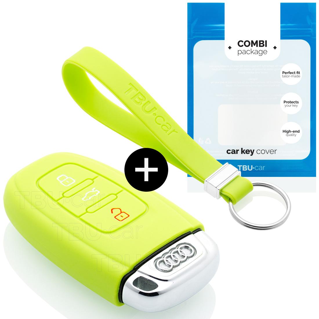 TBU car TBU car Autoschlüssel Hülle kompatibel mit Audi 3 Tasten (Keyless Entry) - Schutzhülle aus Silikon - Auto Schlüsselhülle Cover in Lindgrün