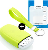 TBU car TBU car Car key cover compatible with Audi - Silicone Protective Remote Key Shell - FOB Case Cover - Lime green