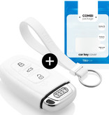 Audi Car key cover - Silicone Protective Remote Key Shell - FOB Case Cover - White