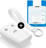 TBU car Autoschlüssel Hülle für Audi 3 Tasten (Keyless Entry) - Schutzhülle aus Silikon - Auto Schlüsselhülle Cover in Weiß