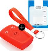 TBU car Autoschlüssel Hülle für Audi 3 Tasten (Keyless Entry) - Schutzhülle aus Silikon - Auto Schlüsselhülle Cover in Rot