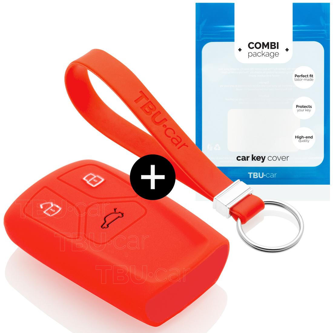 Audi Autoschlüssel Hülle - Silikon Schutzhülle - Schlüsselhülle Cover - Rot