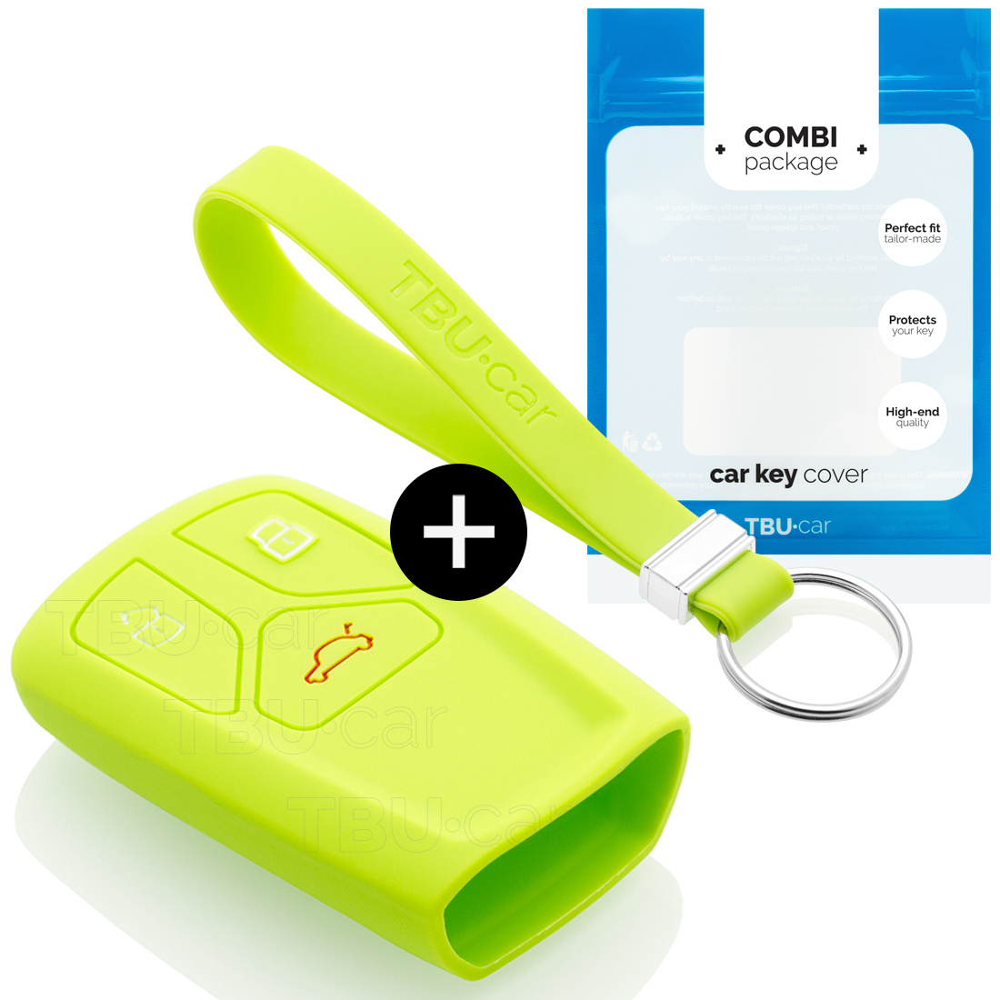 Audi Car key cover - Silicone Protective Remote Key Shell - FOB Case Cover - Lime