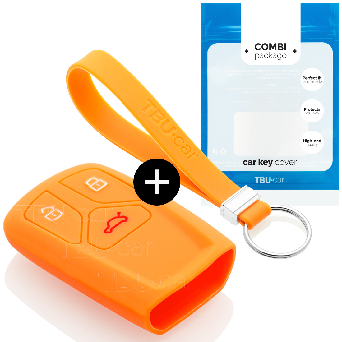 Audi Car key cover - Silicone Protective Remote Key Shell - FOB Case Cover - Orange