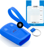 TBU car TBUCAR Autoschlüssel Hülle kompatibel mit Audi 3 Tasten (Keyless Entry) - Schutzhülle aus Silikon - Auto Schlüsselhülle Cover in Blau