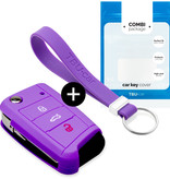 Audi Car key cover - Silicone Protective Remote Key Shell - FOB Case Cover - Purple