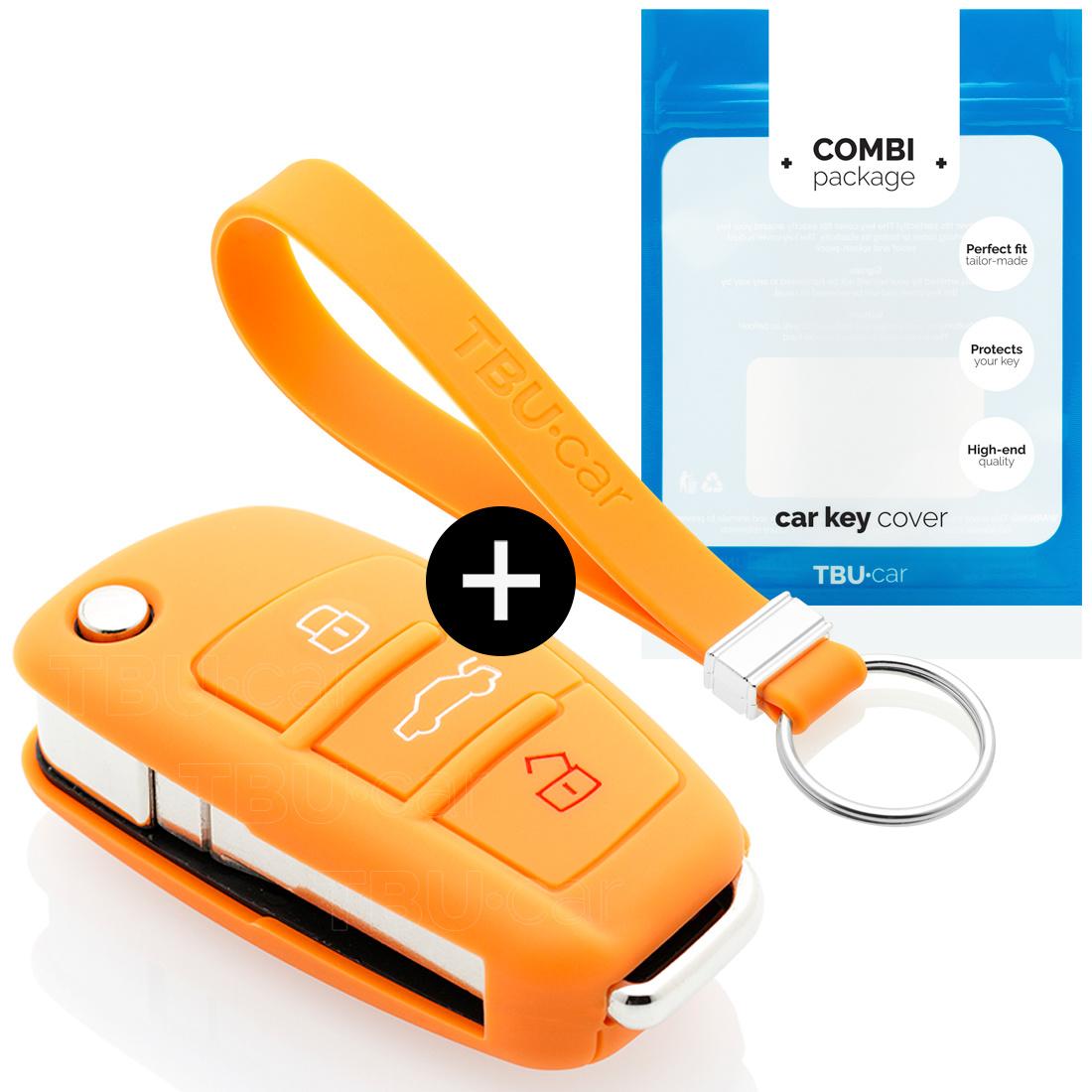 TBU car Audi Sleutel Cover - Silicone sleutelhoesje - beschermhoesje autosleutel - Oranje