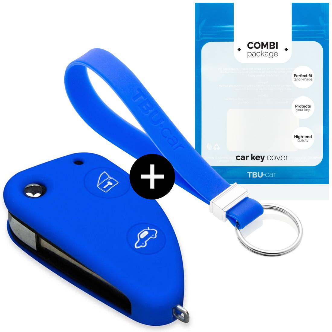 TBU car TBU car Autoschlüssel Hülle kompatibel mit Alfa Romeo 2 Tasten - Schutzhülle aus Silikon - Auto Schlüsselhülle Cover in Blau