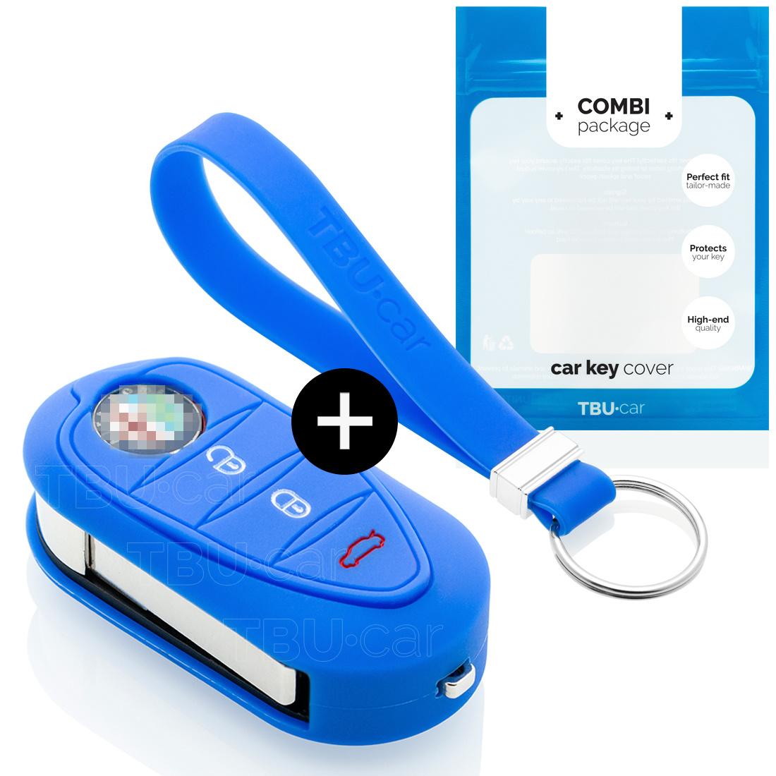 Alfa Romeo Car key cover - Silicone Protective Remote Key Shell - FOB Case Cover - Blue