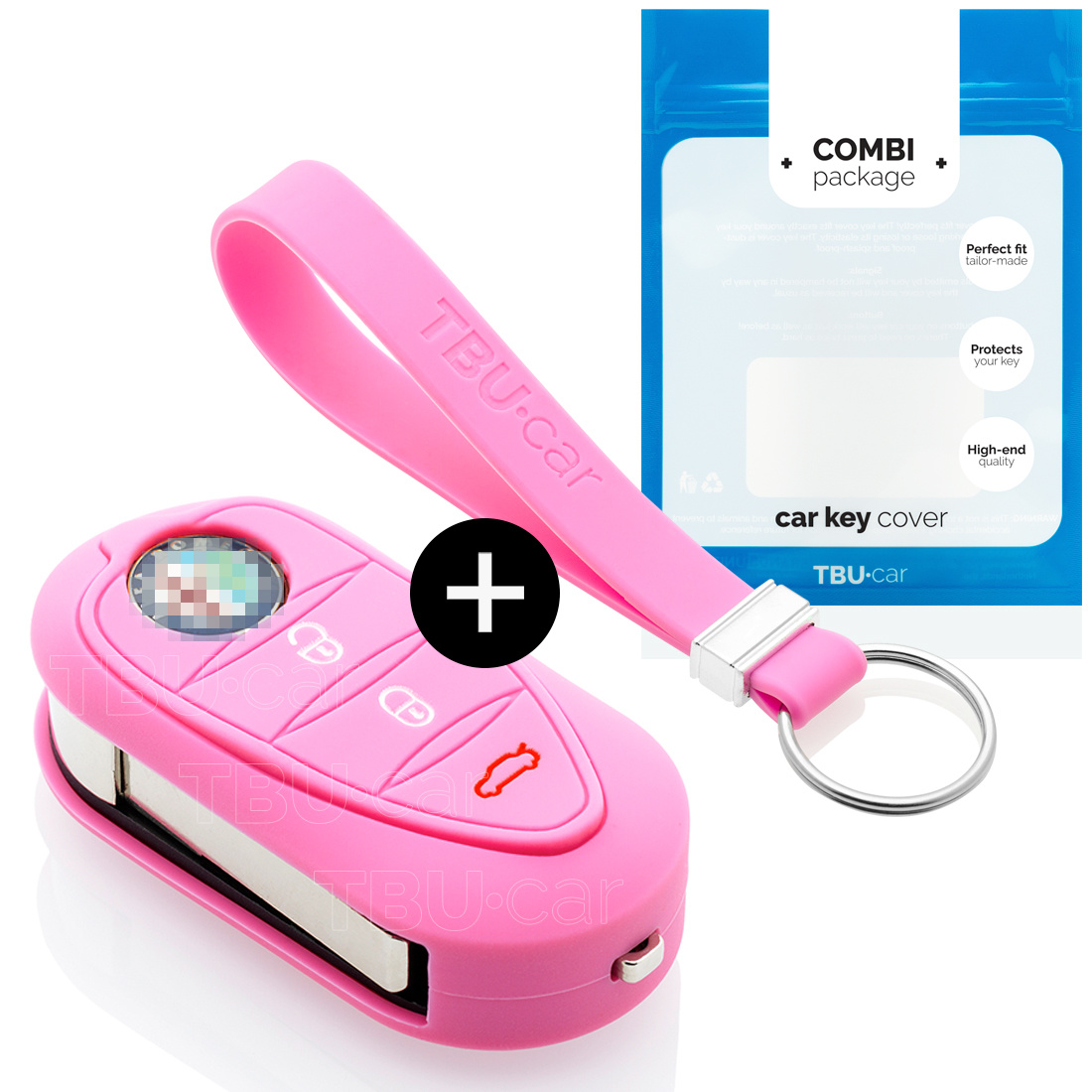 Alfa Romeo Car key cover - Silicone Protective Remote Key Shell - FOB Case Cover - Pink