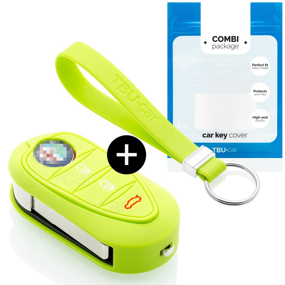 TBU car TBU car Car key cover compatible with Alfa Romeo - Silicone Protective Remote Key Shell - FOB Case Cover - Lime green