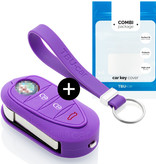 TBU·CAR Alfa Romeo Car key cover - Silicone Protective Remote Key Shell - FOB Case Cover - Purple
