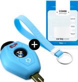 TBU·CAR BMW Car key cover - Silicone Protective Remote Key Shell - FOB Case Cover - Light Blue