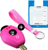 BMW Car key cover - Silicone Protective Remote Key Shell - FOB Case Cover - Pink