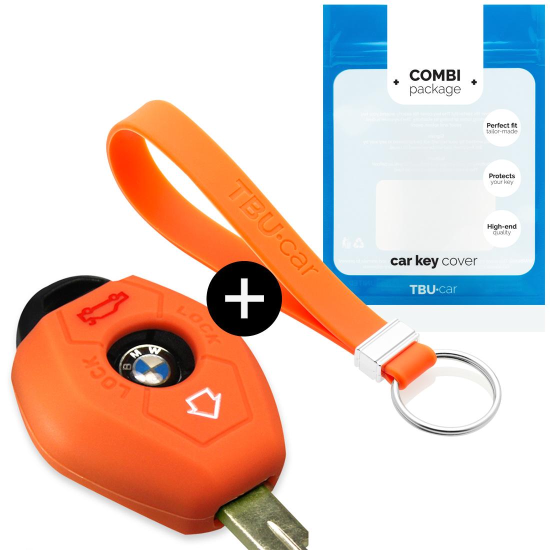 TBU car Autoschlüssel Hülle für BMW 3 Tasten - Schutzhülle aus Silikon - Auto Schlüsselhülle Cover in Orange