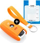 TBU car TBU car Autoschlüssel Hülle kompatibel mit BMW 3 Tasten (Keyless Entry) - Schutzhülle aus Silikon - Auto Schlüsselhülle Cover in Orange